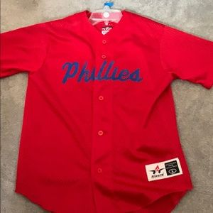 Throw Back Youth Phillies Baseball Jersey 30 Red